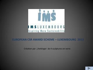 EUROPEAN CSR AWARD SCHEME – LUXEMBOURG 2013