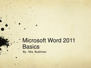 Microsoft Word 2011 Basics