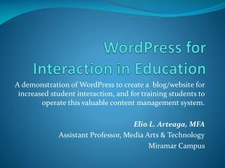 WordPress for Interaction in Education