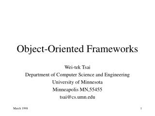 Object-Oriented Frameworks