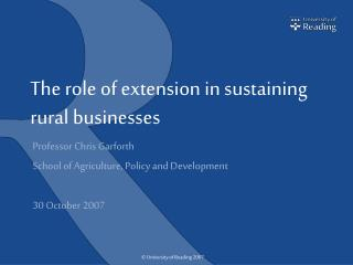 The role of extension in sustaining rural businesses