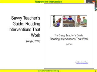 Savvy Teacher's Guide: Reading Interventions That Work (Wright, 2000)