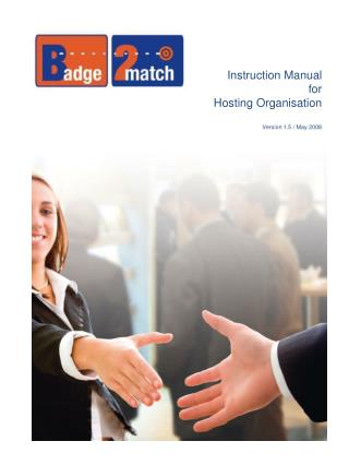 Instruction Manual for  Hosting Organisation Version 1.5 / May 2008