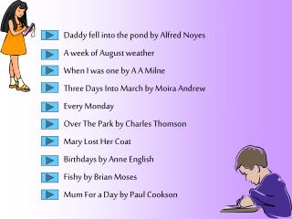 Daddy fell into the pond by Alfred Noyes A week of August weather When I was one by A A Milne