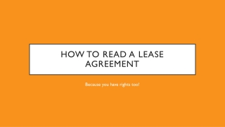 How to Read A lease agreement