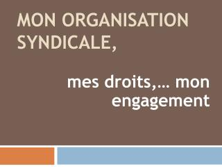 Mon organisation  syndicale ,