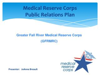 Medical Reserve Corps  Public Relations Plan