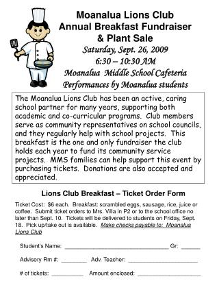 Moanalua Lions Club Annual Breakfast Fundraiser & Plant Sale Saturday, Sept. 26, 2009