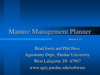 Manure Management Planner