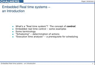 Embedded Real time systems – an Introduction