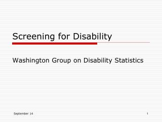 Screening for Disability