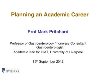Planning an Academic Career