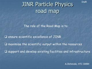 JINR Particle Physics  road map