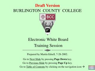 Draft Version BURLINGTON  COUNTY  COLLEGE