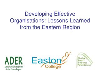 Developing Effective Organisations: Lessons Learned from the Eastern Region