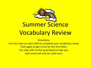 Summer Science  Vocabulary Review