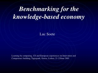 Benchmarking for the knowledge-based economy