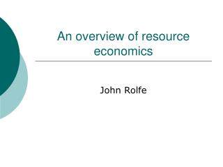 An overview of resource economics