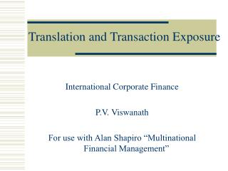 Translation and Transaction Exposure
