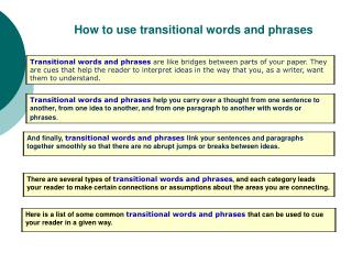 How to use transitional words and phrases