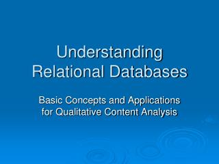 Understanding Relational Databases