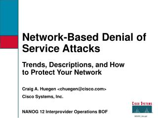 Network-Based Denial of Service Attacks