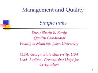 Management and Quality  Simple links