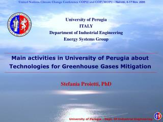 University of Perugia  ITALY Department of Industrial Engineering Energy Systems Group