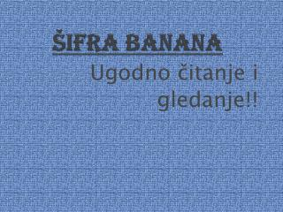 Šifra banana
