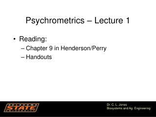 Psychrometrics – Lecture 1