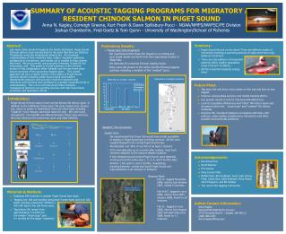 A SUMMARY OF ACOUSTIC TAGGING PROGRAMS FOR MIGRATORY AND  RESIDENT CHINOOK SALMON IN PUGET SOUND Anna N. Kagley, Correig