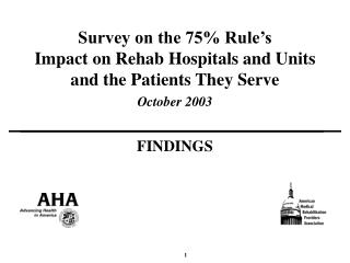 Survey on the 75% Rule's Impact on Rehab Hospitals and Units and the Patients They Serve October 2003