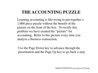THE ACCOUNTING PUZZLE