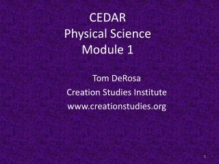 CEDAR Physical Science Module 1