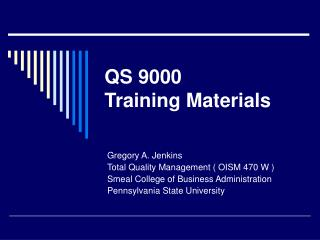 QS 9000 Training Materials