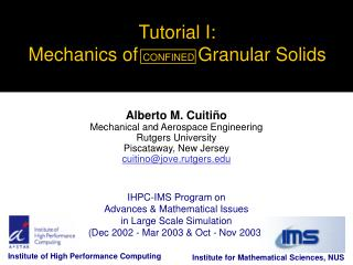 Tutorial I: Mechanics of  CONFINED Granular Solids