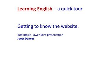 Learning English  – a quick tour