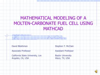 MATHEMATICAL MODELING OF A MOLTEN-CARBONATE FUEL CELL USING MATHCAD