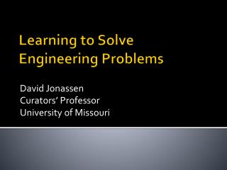 Learning to Solve  Engineering Problems