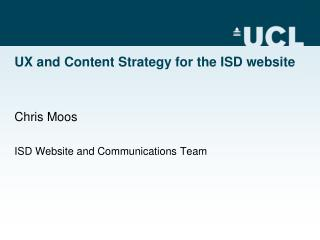 UX and Content Strategy for the ISD website