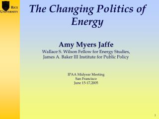 The Changing Politics of Energy