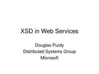 XSD in Web Services