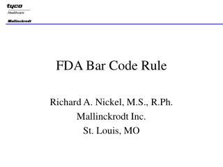 FDA Bar Code Rule