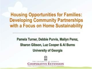 Housing Opportunities for Families:  Developing Community Partnerships with a Focus on Home Sustainability