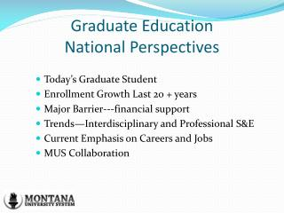 Graduate Education National Perspectives