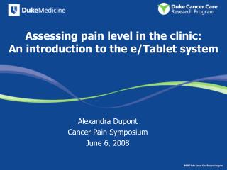Assessing pain level in the clinic:  An introduction to the e/Tablet system