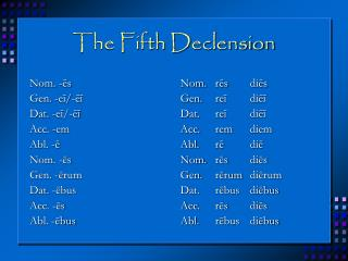 The Fifth Declension