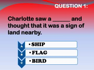 QUESTION 1:   Charlotte saw a ______ and thought that it was a sign of land nearby.