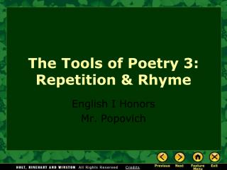 The Tools of Poetry 3: Repetition & Rhyme