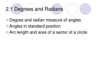 2.1 Degrees and Radians